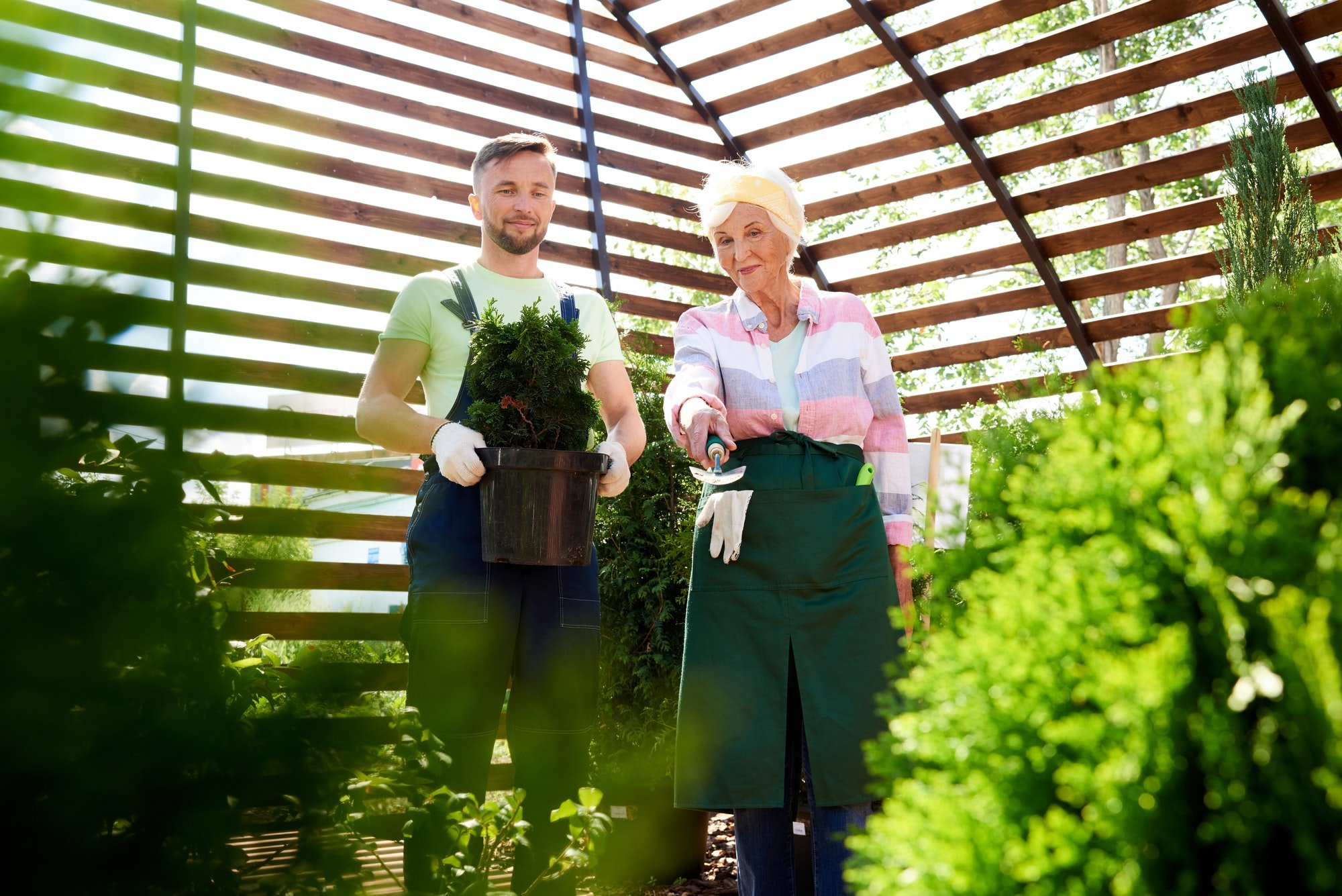 Two Gardeners in Botanical Greenhouse
